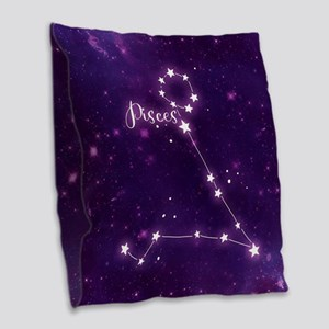 Pisces Zodiac Constellation Burlap Throw Pillow