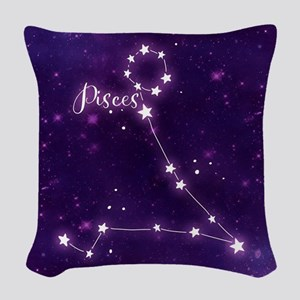 Pisces Zodiac Constellation Woven Throw Pillow