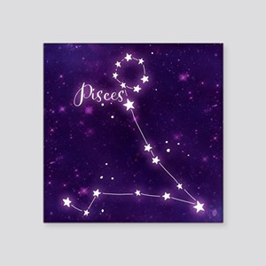 "Pisces Zodiac Constellation Square Sticker 3"" x 3"""