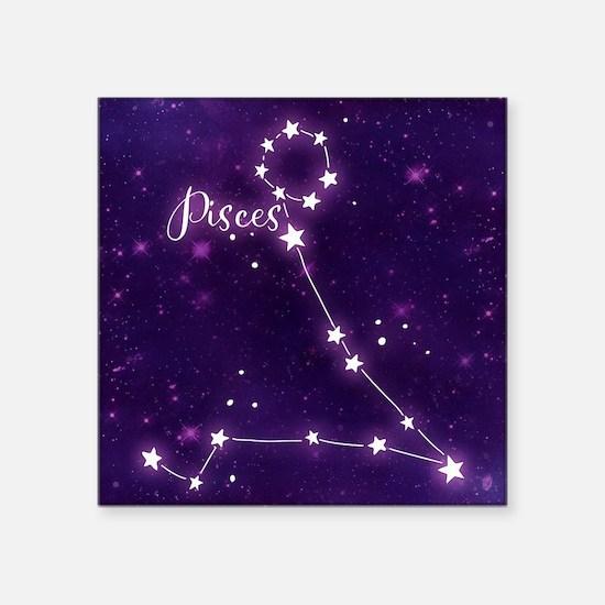 """Pisces Zodiac Constellation Square Sticker 3"""" x 3"""""""