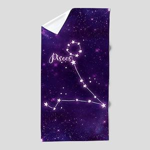 Pisces Zodiac Constellation Beach Towel