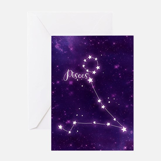Pisces Zodiac Constellation Greeting Card