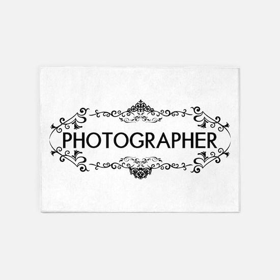 Wedding Series: Photography (Black) 5'x7'Area Rug
