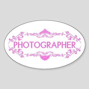 Wedding Series: Photography (Pink) Sticker (Oval)