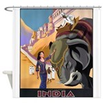 India Vintage Travel Advertising Print Shower Curt