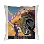 India Vintage Travel Advertising Everyday Pillow