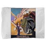 India Vintage Travel Advertising Print Pillow Sham