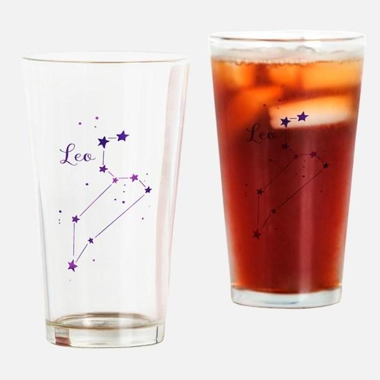 Leo Zodiac Constellation Drinking Glass