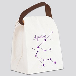Aquarius Zodiac Constellation Canvas Lunch Bag