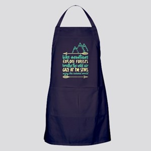 Hike Mountains Explore Forest T Shirt Apron (dark)