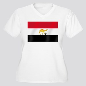 Egyptian Camel Flag Women's Plus Size V-Neck T-Shi