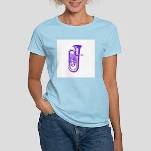 Woodcut Purple Tuba Women's Pink T-Shirt