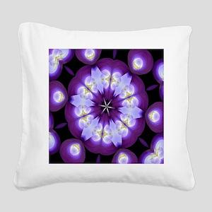 Magenta Circles Mandala Square Canvas Pillow