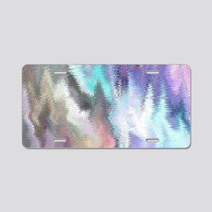 Vibrating Glitch Pastels Aluminum License Plate