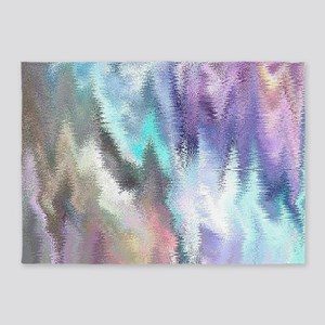 Vibrating Glitch Pastels 5'x7'Area Rug
