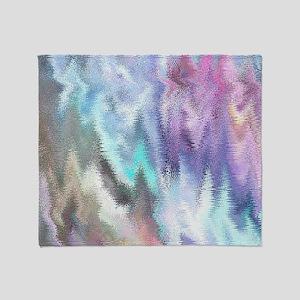 Vibrating Glitch Pastels Throw Blanket