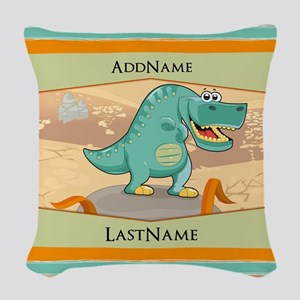 Dinosaur Personalized for Kids Woven Throw Pillow