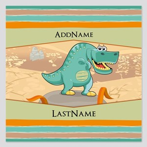 Dinosaur Personalized for K 5.25 x 5.25 Flat Cards