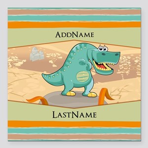 """Dinosaur Personalized fo Square Car Magnet 3"""" x 3"""""""