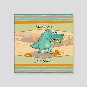 """Dinosaur Personalized for K Square Sticker 3"""" x 3"""""""