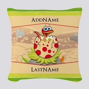 Kids Dinosaur Hatching Persona Woven Throw Pillow