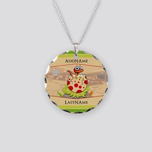 Kids Dinosaur Hatching Perso Necklace Circle Charm