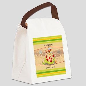 Kids Dinosaur Hatching Personaliz Canvas Lunch Bag