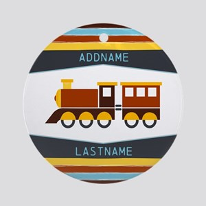 Kids Name Toy Train Personalized Round Ornament