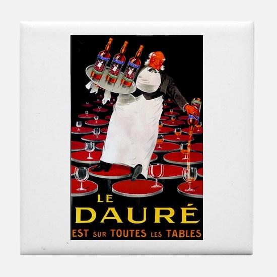 Vintage French Wine Poster Tile Coaster