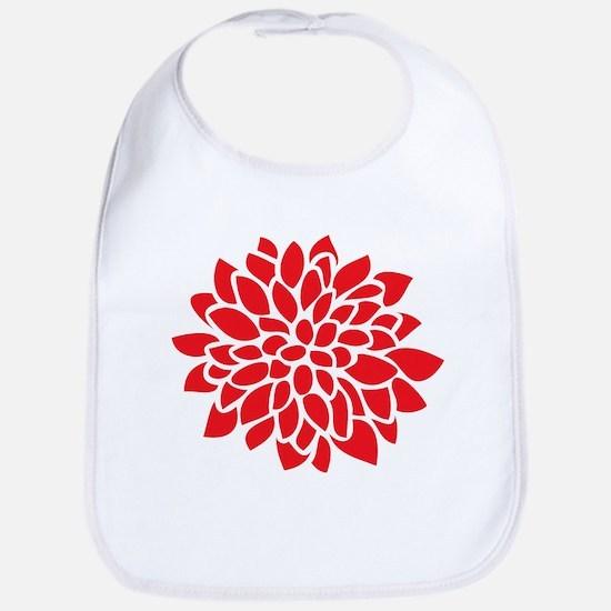 Bold Red Graphic Flower Modern Baby Bib
