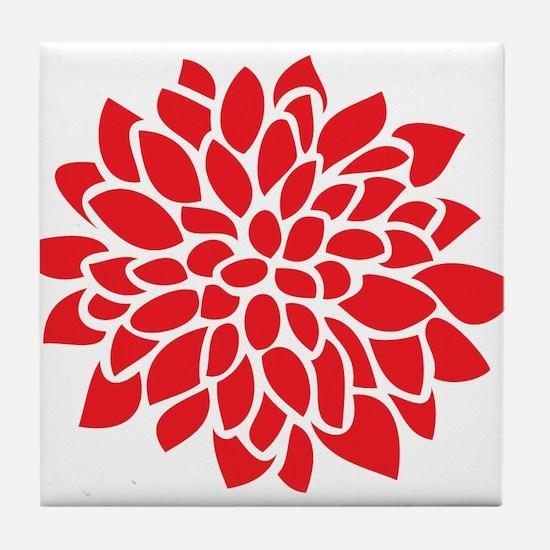 Bold Red Graphic Flower Modern Tile Coaster