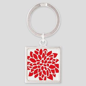 Bold Red Graphic Flower Modern Keychains