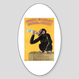 Monkey Liquor Poster Oval Sticker