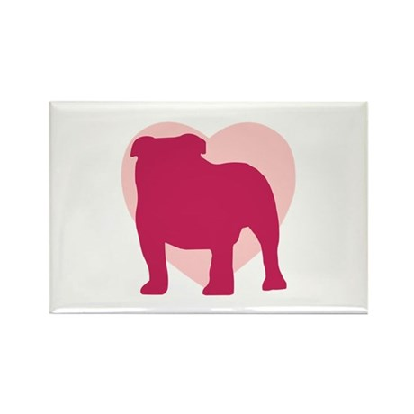 Bulldog Valentine's Day Rectangle Magnet (100 pack