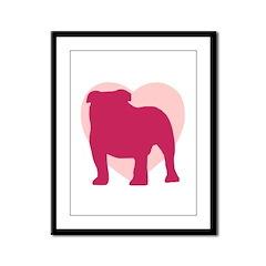 Bulldog Valentine's Day Framed Panel Print
