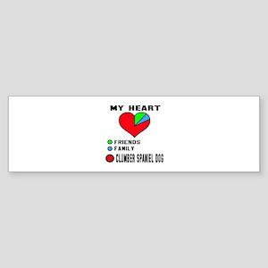 My Heart, Friends, Family, Clumbe Sticker (Bumper)