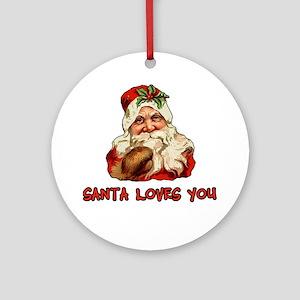 Santa Loves You Ornament (Round)