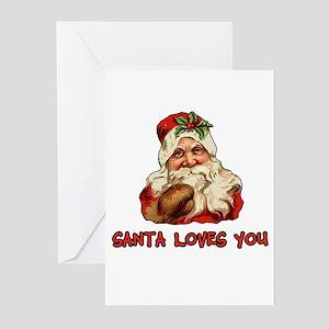 Santa Loves You Greeting Cards (Pk of 10)