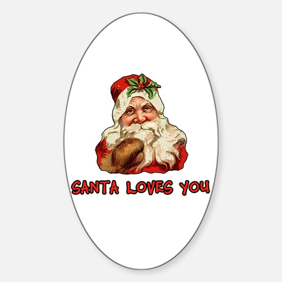 Santa Loves You Oval Decal