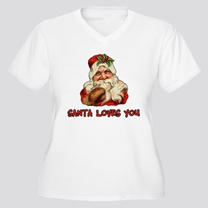 Santa Loves You Women's Plus Size V-Neck T-Shirt