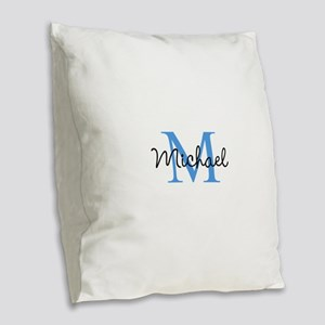 Personalize Iniital, and name Burlap Throw Pillow