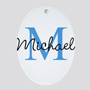 Personalize Iniital, and name Oval Ornament