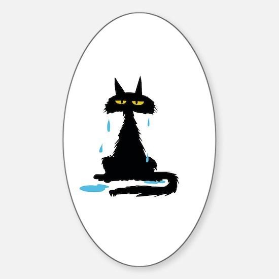 Cute Halloween black kitty Sticker (Oval)
