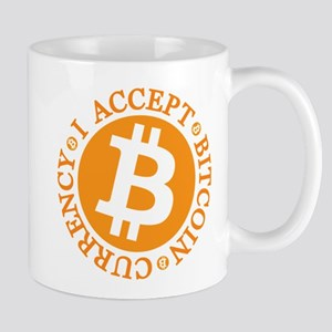 I accept Bitcoin currency round Mugs