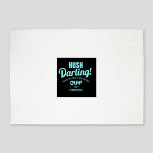 First cup of coffee humor 5'x7'Area Rug