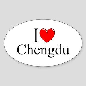 """""""I Love Chengdu"""" Oval Sticker"""