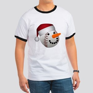 Christmas Baseball Snowman T-Shirt