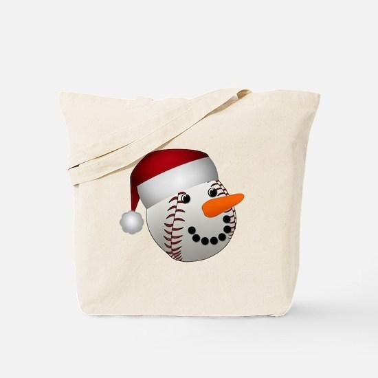 Christmas Baseball Snowman Tote Bag