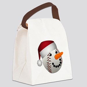 Christmas Baseball Snowman Canvas Lunch Bag