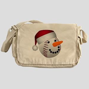Christmas Baseball Snowman Messenger Bag